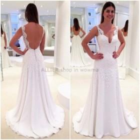ウェディングドレス 最新Vネックラインシフォンビーチウェディングドレスバックレスレースブライダルドレス