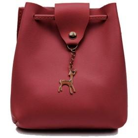 [YISHIWEI]ショルダーバッグ バケツバッグ レディース レザーバッグ 斜めかけ 巾着スタイリッシュなかわいいショルダーバッグ (酒红色)