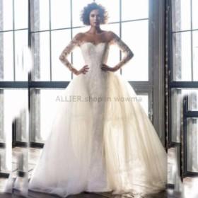 ウェディングドレス/ステージ衣装 取り外し可能なトレーンとNEWイスラム教のウェディングドレスロングスリーブレースの花嫁衣装
