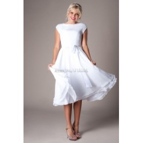 ウェディングドレス 白ショートキャップスリーブビーチシフォンウェディングドレスブライダルドレス