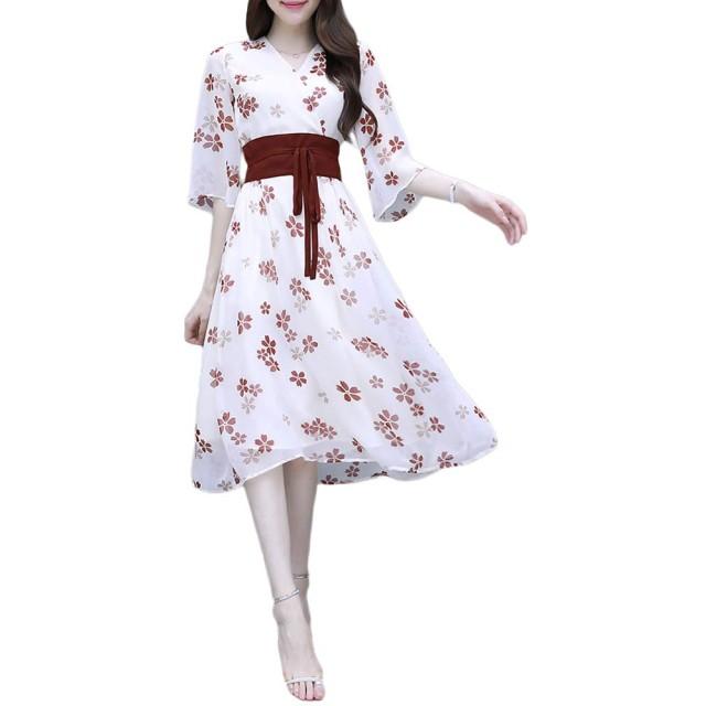 ワンピース レディース シフォン 花柄 ドレス 夏 フレア Vネック ミモレ Aライン おしゃれ きれいめ 涼しい
