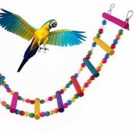 FantasyRe バードトイ インコ おもちゃ オウム噛む玩具 鳥 はしご おもちゃブランコ 吊り下げ式 鳥ペット 木製ラダー インコ パロット オ