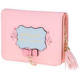 子供 女の子 二つ折り 財布 ポッチ 小銭入れ 多機能 耐用性 盗難防止 取り出しやすい ギフト - ピンク