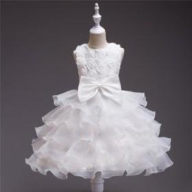 お花付き子どもドレス/ひな祭り/発表会/ワンピース/結婚式/お姫様/フォーマルドレス