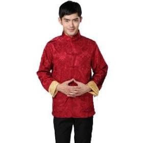 チャイナ服 刺繍柄 コート 上着 メンズ サイズ:S 色:赤