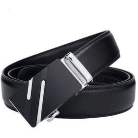 Ouyitaomee メンズビジネスベルト自動ロック調節可能なサイズの革の革の穴自動バックルカジュアルロングブラックベルトなし (type 3)