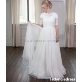 ウェディングドレス/ステージ衣装 ハーフスリーブAラインホワイト/アイボリーウェディングドレスレースチュールビーチブライダルドレスカ