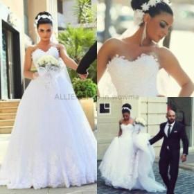 ウェディングドレス/ステージ衣装 ホワイト/アイボリーレースAラインスウィートハートウェディングドレスブライダルドレスカスタムメイド
