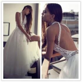 ウェディングドレス セクシーなホワイトVネックレースビーチウェディングドレスオープンバッククリスタルブライダルドレス