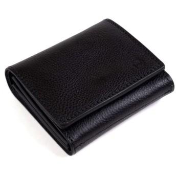 ミニ財布 レディース 本革 折り財布 小さい財布 コンパクト 薄い かわいい ブラック 黒 (ドーノ) Dono