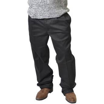 Hanes(ヘインズ) チノパン メンズ ストレッチ ツータック チノパンツ ワークパンツ スラックス 大きいサイズ 94 ブラック(01)
