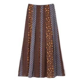 【公式/NATURAL BEAUTY BASIC】[洗える]パネルプリントスカート/女性/スカート/ブラウンベース/サイズ:S/(表生地)ポリエステル 100%(裏生地)ポリエステル 100%