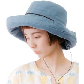 ブルー (オリエントハット)Orient Hat リボン付き アドベンチャー サファリハット 革紐付き つば広 ハット レディース 日よけ UVカット クロッシェハット キャペリンハット カプリーヌハット 女優帽 つば広ハット BOR807Y_Re-f-BL
