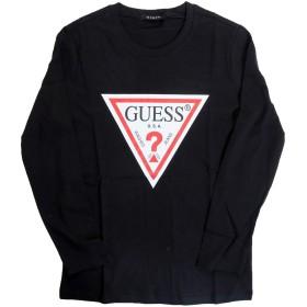 GUESS (ゲス) レディース ロングスリーブ Tシャツ YI2K9415LS トライアングル マーク プリント 長袖 ロンT (S, ブラック)
