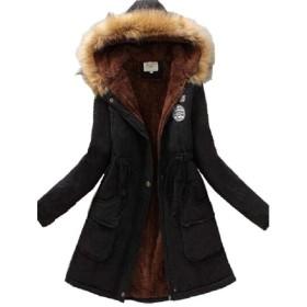 (ツリカラーブイブイ) Tricolor-VIVI レディース モッズコート アウター コート ジャケット 裏ボア ミリタリーコート フード付き フェイクファー カジュアル エレガント 大きいサイズ裏起毛 (8020ブラック, 2XL)