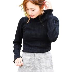 (ファッションレター) FashionLetter フリル リブニット トップス ニット b361 (M,ブラック)