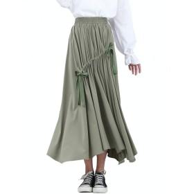 レディース ドロストギャザーフレアスカート ドロストスカート ギャザースカート フレアースカート ふんわりスカート ロングスカート