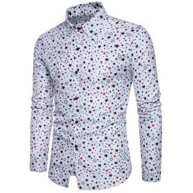 [eleitchtee] カジュアルシャツ メンズ 長袖 ドレスシャツ 開襟シャツ トップス スリム 星柄 008-awfs-c708(M ホワイト)