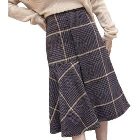 [CAIXINGYI] ヘアリー 格子 フィッシュテールスカート 2018年 秋 冬 不規則な フリル スカート 女性 中・長セクション スカート (グレーチェック, XL)