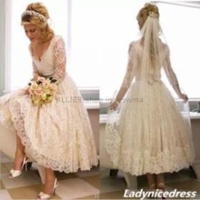 ウェディングドレス/ステージ衣装 1950年代レトロホワイト/アイボリーレースウェディングドレスアンクルレングスロングスリーブブライダ