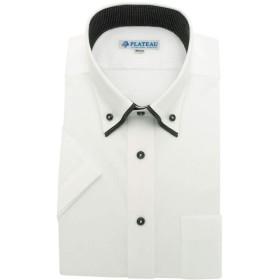 ワイシャツ PLATEAU [DHPC21-08]ボタンダウン 2枚衿風 ホワイトドビーストライプ