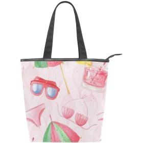 CW-Story サマーアイスクリーム キャンバストートバッグ レディース 大容量 大人可愛い かわいい おしゃれ カバン マザーズバッグ ショッピングバッグ 通勤 通学 習い事