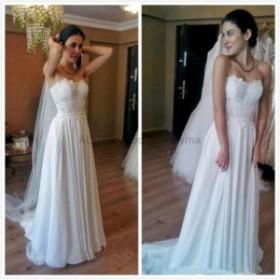 ウェディングドレス レースシフォンビーチウェディングドレスSweetheartの花嫁衣装カスタムサイズ