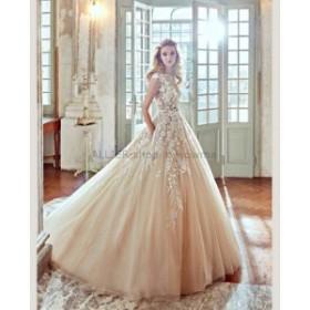 ウェディングドレス/ステージ衣装 ヴィンテージシャンパンアップリケチュールウェディングドレスAラインキャップスリーブブライダルドレ