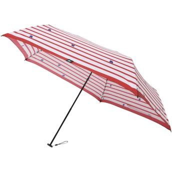 moz(モズ)/UVカット折り畳み傘 ボーダー柄にエルクデザインレッド