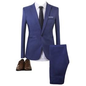 GETS(ゲッツ) スーツ メンズ 2点セット スリーピース 上下セット ジャケット スラックス セットアップ 1つボタン ビジネススーツ スリム 着心地良い 礼服 結婚式 就職スーツ オールシーズン シンプルデザイン 無地 スタイリッシュスーツ パーティー スーツ (ブルー,M)