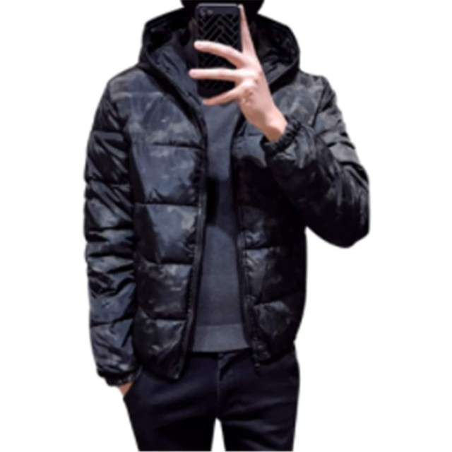 (グードコ) 迷彩柄 モッズコート メンズ ダウン ミリタリージャケット アウター 中綿コート ショート丈 棉服 厚手 抗菌 保温力 グレーM