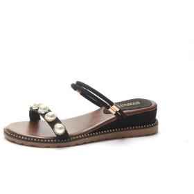 VITryst レディース夏プラットフォーム真珠エレガント靴ウェッジcomfyスライドサンダル Black 39