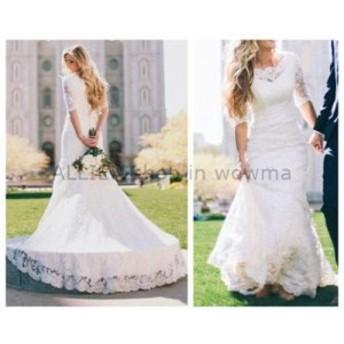 ウェディングドレス/ステージ衣装 ゴージャスな白い/アイボリーのレースのウェディングドレスハーフスリーブマーメイドカントリーブライ