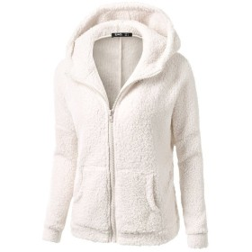 SakuraBest Hooded Sweater Coat for Women Fashion Spring Winter Flannel Pullover Tops (L, White)