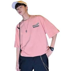 BeiBang(バイバン)tシャツ メンズ 半袖 トップス カットソー 大きいサイズ 韓国ファッション 薄手 夏物 クルーネック プリント (20ピンク)