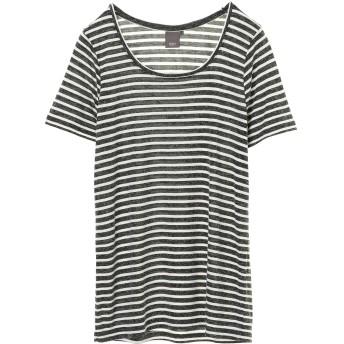 JETSET SOLOPLUS ジェットセットソロプラス ICHI:麻混ボーダーTシャツ Tシャツ・カットソー,ブラック系