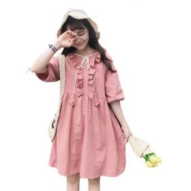 PIITE レディース ワンピース 夏 可愛いワンピース ゆったり 半袖ワンピース Vネック 無地 シャツ レディース スカート 少女 甘い ワンピース セット頭ピンク