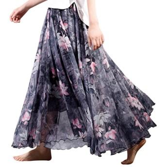 (Helostoma) ヘロストマ レディース マキシスカート 広幅 シフォンスカート 花柄 ロングスカート 26#