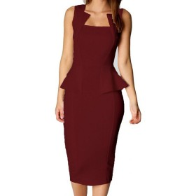 女性のフラウシングノースリーブドレス鉛筆党事務所 Wine JBL950-Wine-L