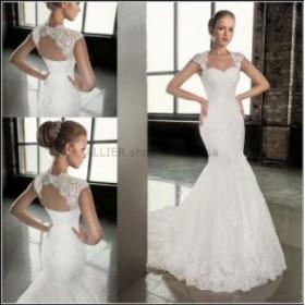 ウェディングドレス セクシー マーメイドビーチ ウェディングドレスホワイトアイボリーキャップスリーブレースブライダルドレス