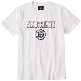 [Abercrombie & Fitch(アバクロンビーアンドフィッチ)] アバクロ メンズ 半袖 コットン Tシャツ ロゴ プリント ホワイト Lサイズ [並行輸入品]