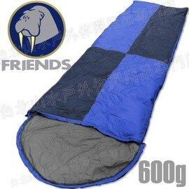 Friends 羽絨睡袋/露營睡袋 台灣製 600g信封型 SD-406 藍灰