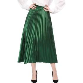 Allegra K プリーツスカート アコーディオンスカート ハイウエスト メタリック アコーディオン グリーン XL