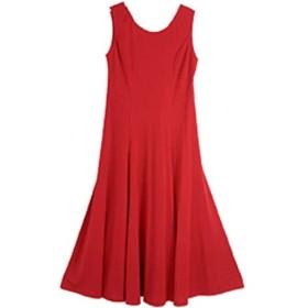 社交ダンス ワンピース 衣装 社交ダンス衣装 フラダンス衣装 白 赤 全16色 ランキング 獲得 多彩に使えるシンプル ロングワンピース フラドレス 発表会 ジャズダンス ミュージカル衣装 舞台衣装 ホワイト レッド フラダンス WP-1 (M, 赤)