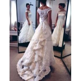 ウェディングドレス エレガントなキャップのスリーブレース ウェディングドレスフリルブライダルドレスサイズ