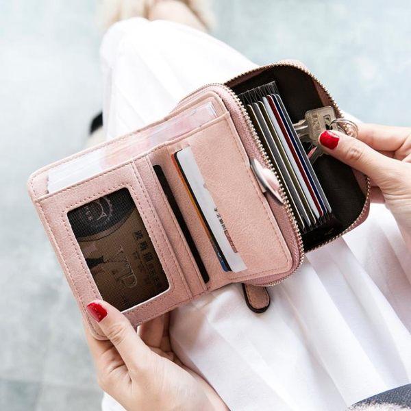 米印錢包女短款學生韓版可愛折疊小清新卡包錢包一體包女