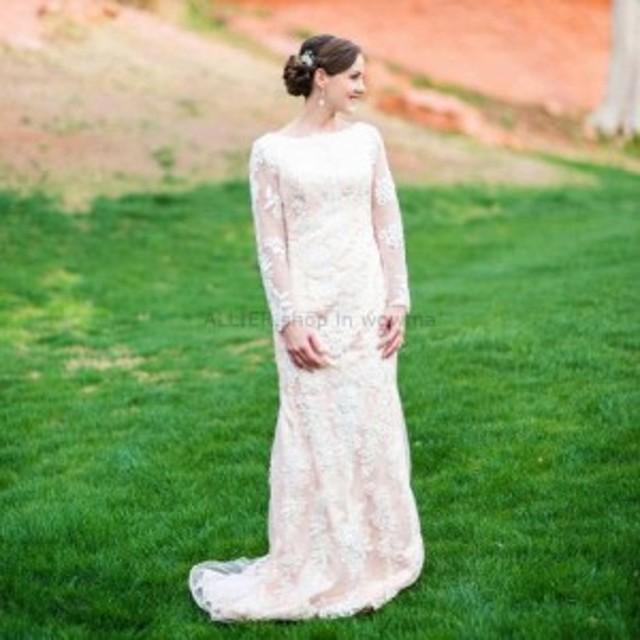 ウェディングドレス ビンテージシャンパンレースアップリケマーメイドの控えめなウェディングドレスブライダルドレス