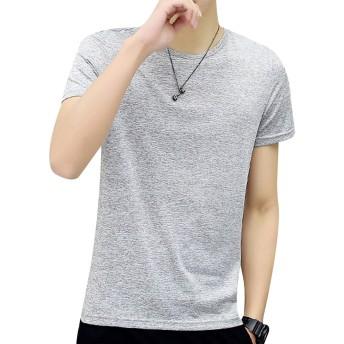 Burvogue メンズオンス ハイクオリティー Tシャツ Tシャツ ビーフィー (日本 L, グレー)