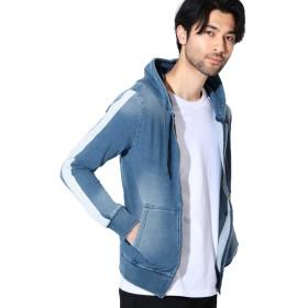 JIGGYS SHOP スウェットデニム ジップパーカー メンズ パーカー デニム ストレッチ 春服 フード S ブルーサイドライン