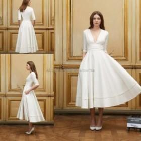 ウェディングドレス ロイヤルAラインVネック半スリーブウェディングドレスティーレングスサテンの花嫁衣装